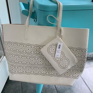 Beach tote and matching wallet (white)